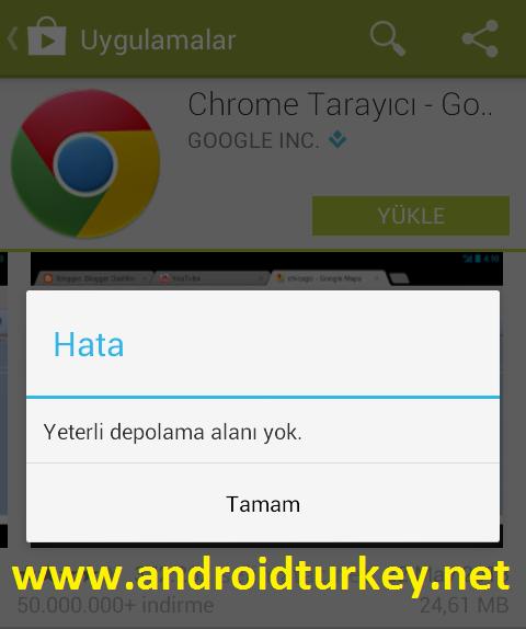 Android Google Play Store Yeterli Depolama Alanı Yok Hatası
