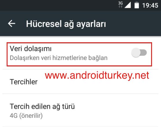 Android Mobil Veri Kapatma