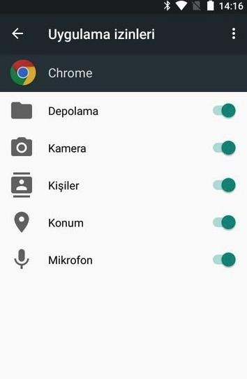 Android Uygulama İzinleri Ayarla