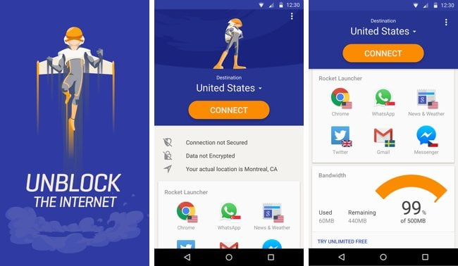 Android VPN Uygulaması Rocket VPN