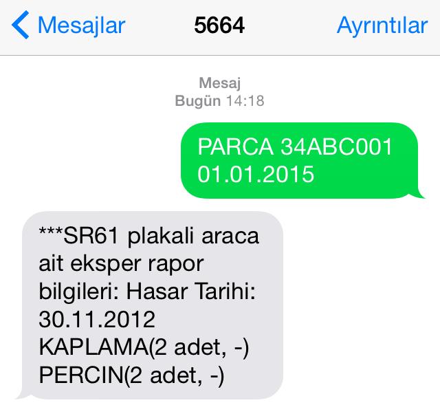 Kaza Kaydı Sorgulama SMS