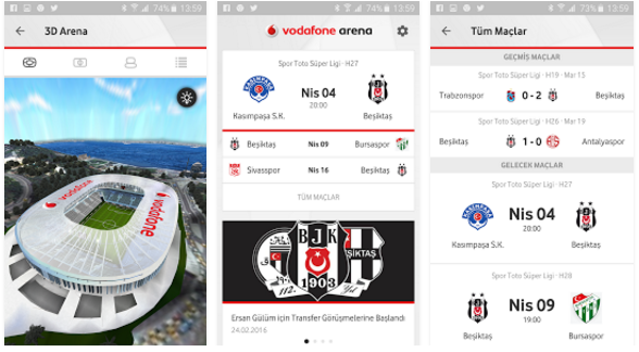 Vodafone Arena Uygulaması Android iPhone
